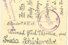 1947 Osterkarte from Schusterreiter Family from Zurndorf to Horwaths in Omaha, Rücks. 57HW