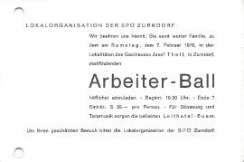 1976  Einladung Arbeiter Ball Zurndorf 79DW